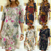 Womens Summer Short Sleeve Sundress Ladies Knee Length Floral Pinted Shift Dress