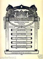 Saat & Getreide Helmcke Hannover XL Reklame 1924 Pferde Stall Scheer Langelaube