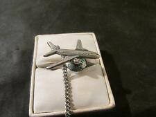 Lovely Vintage Mens Solid Silver, Boeing 767 Jet, Tie Pin