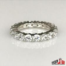 14k White Gold Finish .925 Silver Ladies Ring Band Simulated Diamond Size 6 New