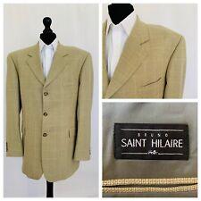 Saint Hilaire Mens Jacket Blazer Chest 44 Beige Faint Check Plaid  OR108