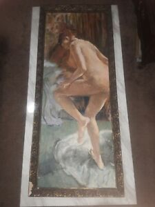 Large Vintage Nude Female Painting On Canvas And Framed
