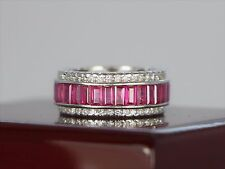 Vintage Sonia B 18K White Gold 7.50ct Diamond Ruby Eternity 9mm Band Ring 5.75