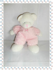 O - Doudou Peluche Ours Rose Blanc Grelot Drowsy