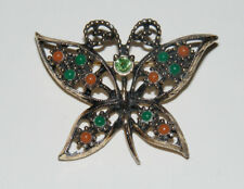 Vintage Gold Tone Sarah Coventry Pink Green Cab & Rhinestone BUTTERFLY Pin K2