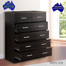 Tallboy Dresser Walnut 6 Drawers Table Cabinet Bedroom Storage Wood Oz Stock