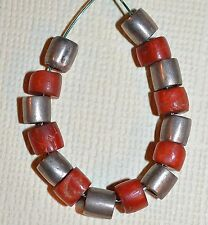 Antique Natural Red Coral Beads Mixed W Antique Silver Beads All From Yemen