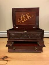Antique 19th Century Stella Music Box W/ Key Mahogany Carved Mermod Freres