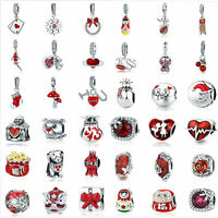 925 Silver Red Charm European Beads Various Pendant Fit Bracelet Xmas Gift Wostu