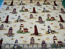 1 Yard Quilt Cotton Fabric - Spectrix Giordano Seaside Country Lighthouse Toss Y