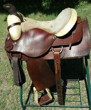 "Circle T Texas 15"" Heavy duty Rawhide Western Steer Roping / Ranch Saddle"