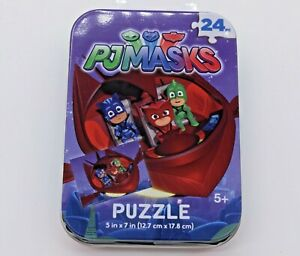 """PJ Masks Puzzle in tin container 5""""x7"""" 24 pieces - New"""
