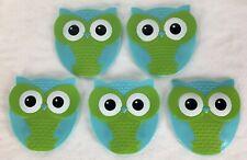 5 Groovy Hooty Owls Non Slip Bath Tub Treads Appliques Mini Mats Suction Cups