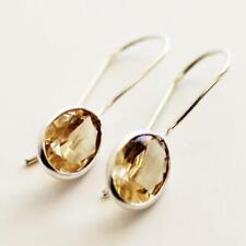 100% 925 Solid Sterling Silver Semi-Precious Citrine Natural Stone Earrings