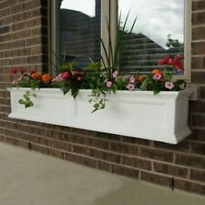 Window Box 11 in. x 60 in. Polyethylene Plastic in White with Drainage Holes