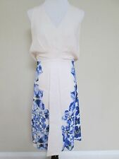 NWT Aut Max Mara Leandro White Blue Floral Silk Blend Shift Dress 44 US 10 $1525