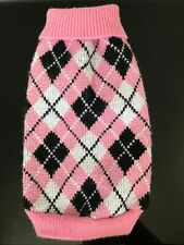 L Female Puppy Dog Pink Black White Knitted Sweater Jumper Coat Roll Neck - XS