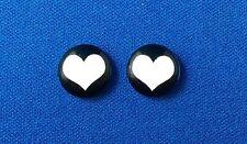 Black/light pink heart flat back cabochon 12mm