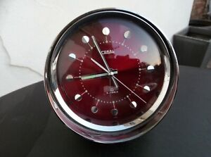Vintage Coral Alarm Clock - Japan - Space Age Atomic - Red Face - Working - 60s