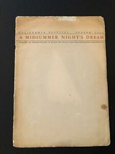 "A Midsummer Night's Dream CA Festival Season Program (1934) 20 Pages 10"" x 14"""