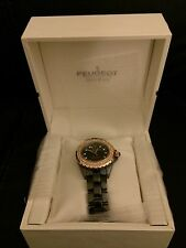 NIB Peugeot Women's PS4892BR Swiss Ceramic Swarovski Crystal Black Dial Watch