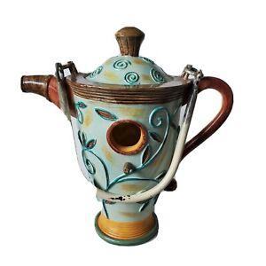 Ceramic Teapot Birdhouse Large Floral Swirls Garden Bird Watching