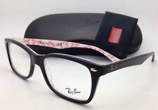 New RAY-BAN Rx-able Eyeglasses RB 5228 5014 55-17 Black on White Texture Frames