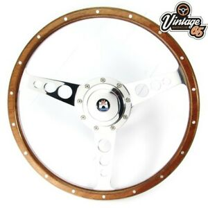 "Classic Car 13"" Riveted Light Wood Rim Steering Wheel With Boss Kit Chrome Horn"