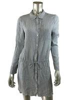 Soft Joie Shirt Dress S Tie Waist Tunic Button Down Long Sleeve Blue White sz S
