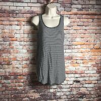 Maurices Women's Size Small Black White Striped Criss Cross Back Casual Tank Top