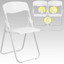 50 PACK 880Lb Capacity Heavy Duty White Plastic Folding Chair w/Built-in Ganging