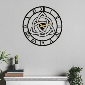 Triquetra Metal Wall Clock, Celtic Knot Lasercut Metal Wall Art, Vikings Decor