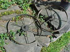 """New listing Early 20thc Planet Jr No 4 Seeder Cultivator Pair 14"""" Iron Spoked Wheels"""