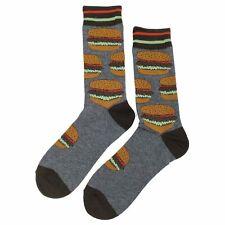 NWT Hamburger Dress Socks Novelty Men 8-12 Gray Fun Sockfly