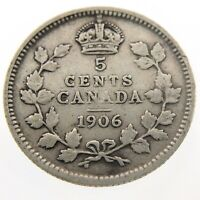 1906 Canada 5 Cents Small Silver Circulated Edward VII Five Cents Coin P424
