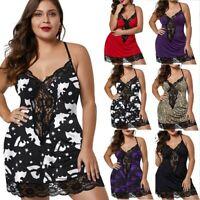 Women Plus Size Lingerie V-Neck Sleepwear Underwear Dress G-string Nightdress US