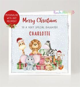 Personalised Safari Animal Christmas Card Son Daughter Grandson Granddaughter