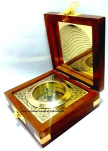 Handcrafted Wooden Box With Built in World Nautical Shiny Brass Compass