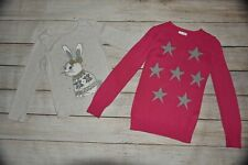 Children'S Place Gymboree 5 6 Gray Glitter Gem Bunny Snowflake Sweater Tunic Lot