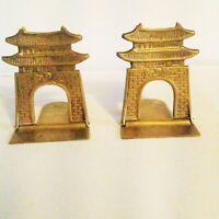 Pair of Vintage Folding Brass Bookends Korea Pagoda Gate Asian Oriental