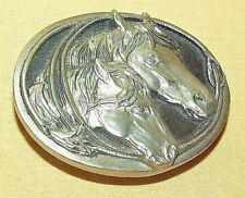 HORSE BELT BUCKLE SISKIYOU 1986 S15 SILVER METAL OVAL TWO HEAD ROPE EQUINE USED