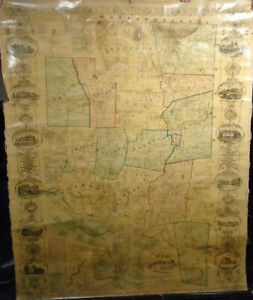 E.M. Woodford MAP OF WINDHAM COUNTY, CONNECTICUT 1856 Very Good 59x46