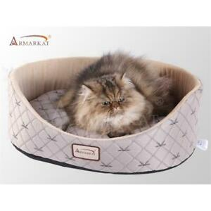 AeroMark C35HQH-MH Armarkat Cat Bed Pale Silver and Beige C35HQH-MH