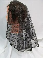 MANTILLA VEIL BLACK/GOLD HEAD COVERING MASS LATIN CHAPEL CHURCH CATHOLIC  108