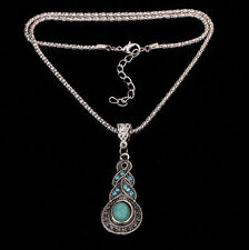 Fashion Tibetan Silver Blue Turquoise Crystal Pendant Chain Necklace Jewelry