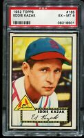 1952 Topps Baseball #165 EDDIE KAZAK St Louis Cardinals PSA 6 EX-MT