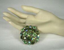 KARU ARKE Pin Brooch Aurora Borealis Tone Rhinestones Green Size 1 3/4 inches