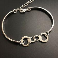 Gothic hand made fine silver Handcuffs Cuff Bangle Bracelet Jewelry Hallowmas