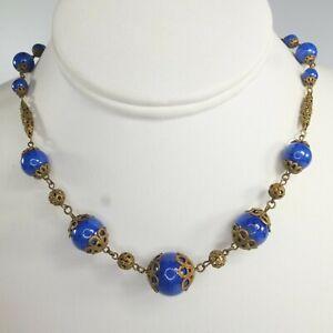 Antique Art Deco Czech Glass Necklace Ornate Lapis Blue Bead Necklace Gablonz