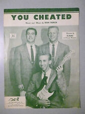 YOU CHEATED Sheet Music SLADES 1958 Pop #42 Hit Doo-Wop ONLY charted song